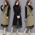 As Mulheres se vestem de Longo Trench Coat de Lã Vestidos de Inverno Grossas de Algodão 2016 Outono Coreano das Mulheres Casaco casacos femininos Jaquetas Cinza