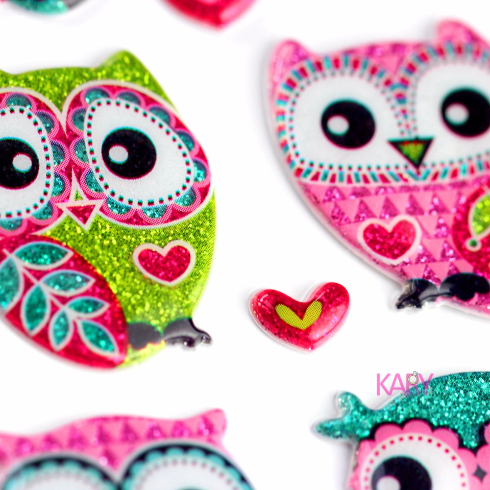 High Quality Special Colorful Retro Pattern Glitter Owl Scrapbooking Sparkle Bubble Stickers Gift Reward Kids Toys For ChildrenHigh Quality Special Colorful Retro Pattern Glitter Owl Scrapbooking Sparkle Bubble Stickers Gift Reward Kids Toys For Children