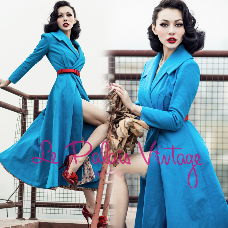 FREE SHIPPING Le palais vintage limited edition high quality navy blue slim big skirt lengthen trench