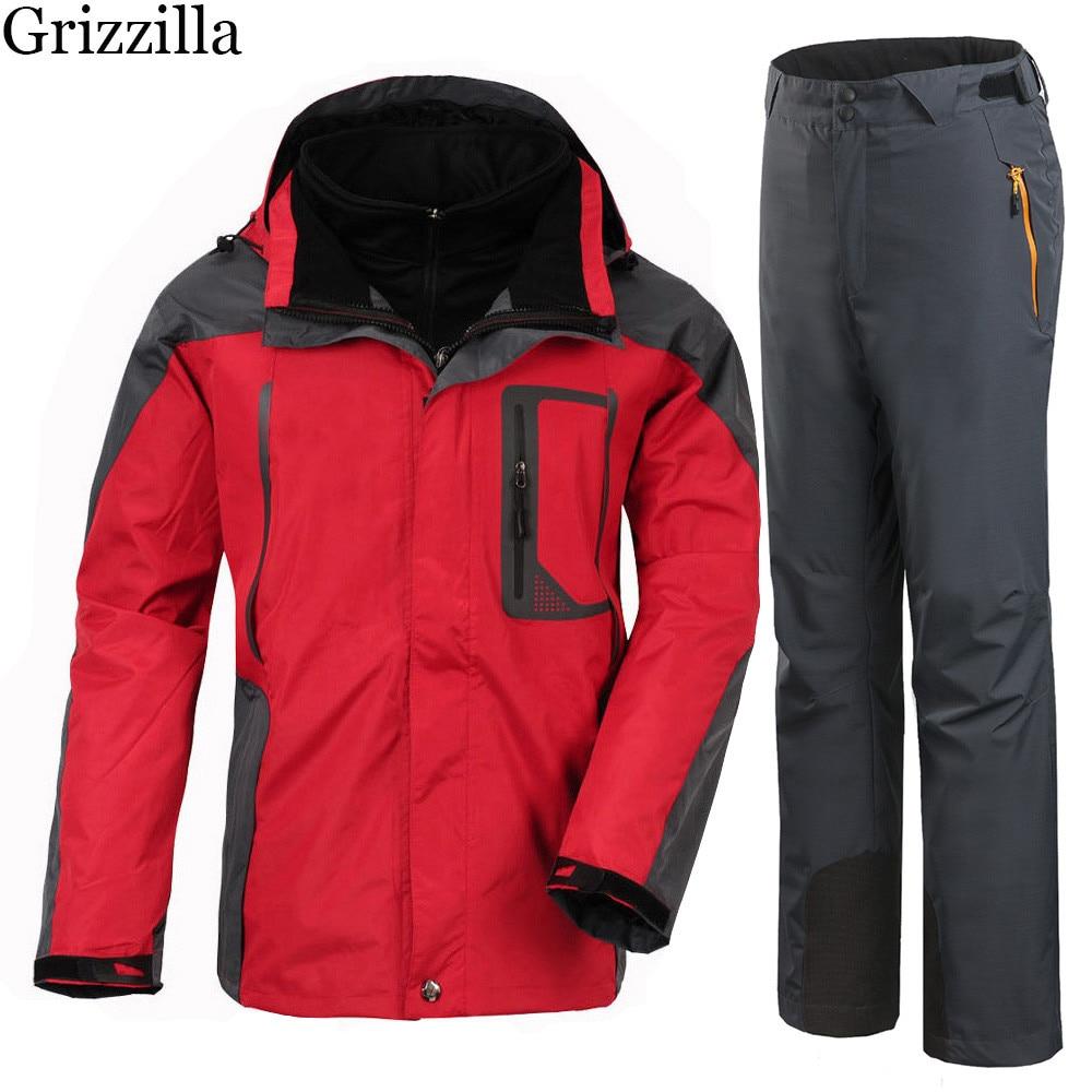 Grizzilla Ski Suit 2017 Men Waterproof Thicken Warm Snowboard Clothing Winter Mountain Skiing 3 in 1 Fleece Jackets and Pants