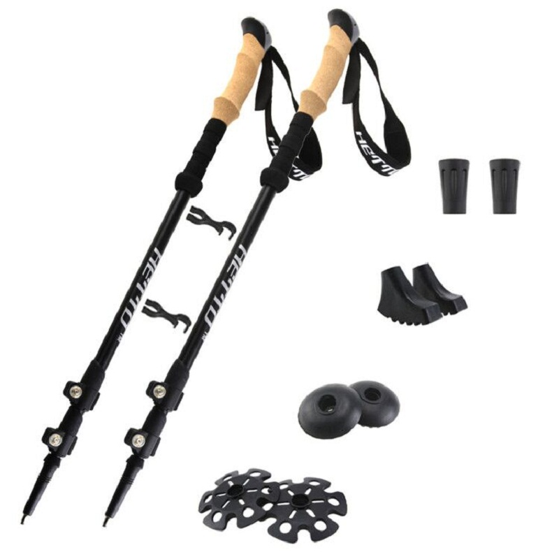 Hetto 2 x  Walking Stick 7075 Aluminum Hiking Poles Trekking Poles Lightweight Adjustable Walking Poles with Cork Grip
