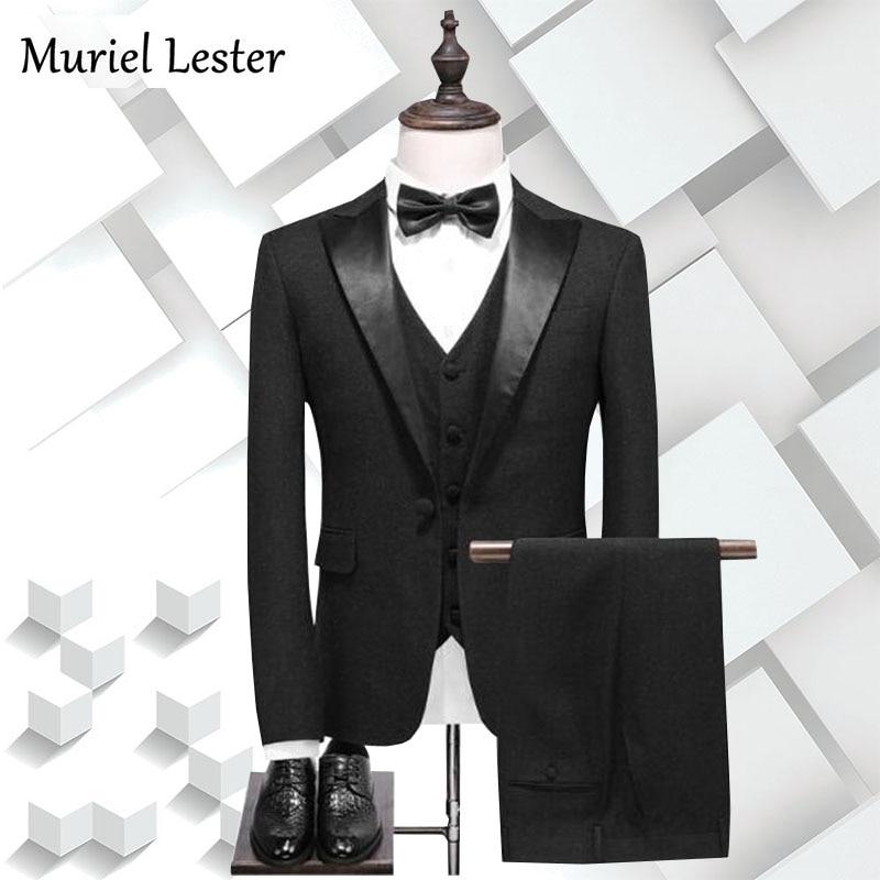 ml 197 new costume homme black three pieces tweed men suit. Black Bedroom Furniture Sets. Home Design Ideas