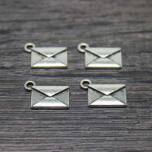 25pcs 18*11mm Antique Silver Plated Envelope Charms Filigree Pendants Jewelry Making DIY Floating Charm(China)