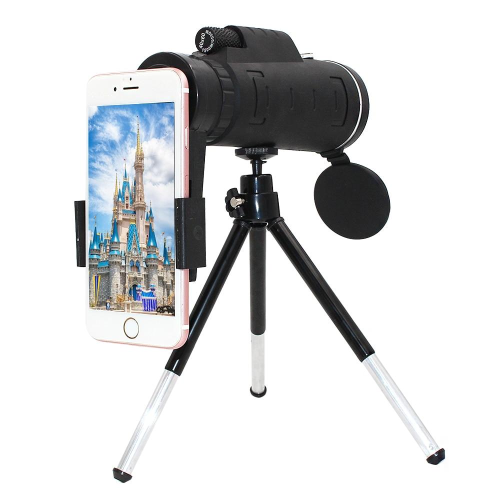 Girlwoman 40X Zoom Monocular teléfono móvil telescopio 40x60 para Iphone Huawei Xiaomi Smartphones Cámara lentes exterior caza