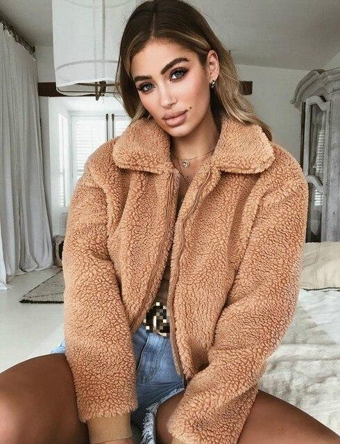 Fashion Women Zip Up Winter Warm Faux Fur Jacket Outerwear Long Sleeve Fleece Jackets Sweater Fluffy Coat Stylish Female Outwear