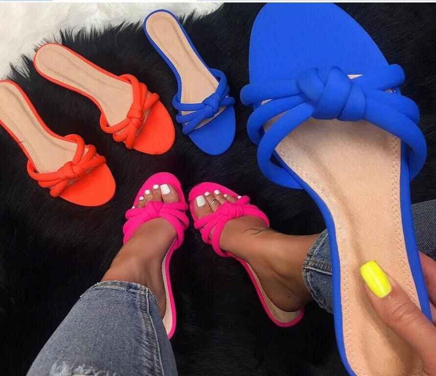 2019 zomer Europa en de Verenigde Staten nieuwe designer comfort veelzijdige candy kleur platte slippers
