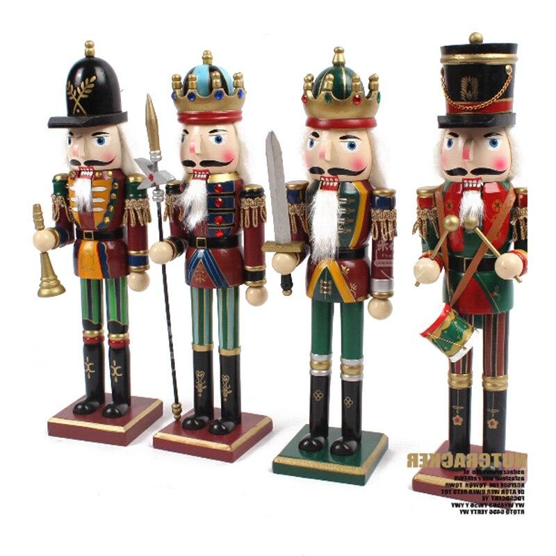 4 pièces/ensemble casse-noisette roi reine modèle en bois casse-noisette Figurines ornement orner bureau décor enfant anniversaire cadeau en bois artisanat