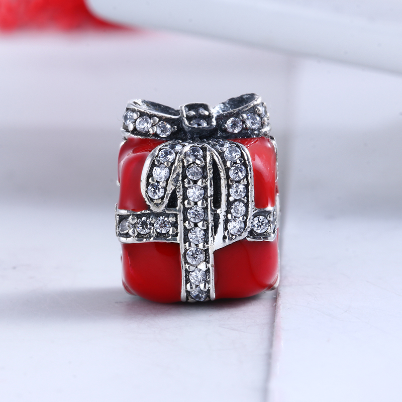 100% 925 Sterling Silver Fit Original Pandora Bracelet Enamel Red Sparkling Surprise Charm DIY Charms Beads for Jewelry Making