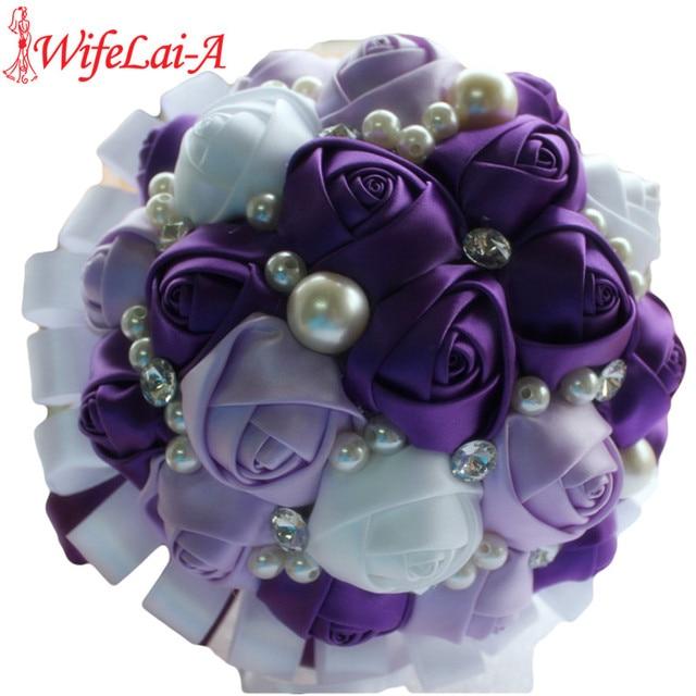 Romantic purple white ribbon wedding bouquet decorative artificial romantic purple white ribbon wedding bouquet decorative artificial rose flowers bridal crystal pearls silk stitch bouquets mightylinksfo