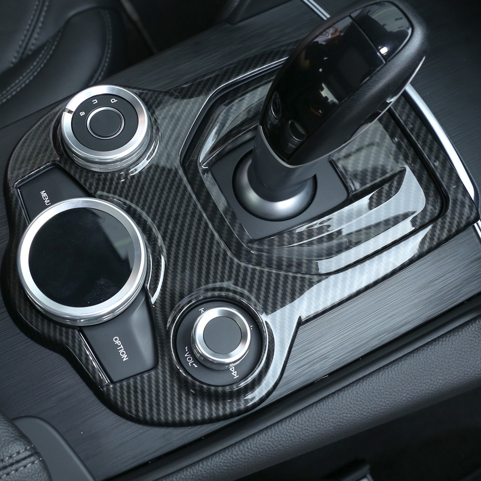 CHEYA 4Pcs ABS Carbon Fiber Car Door Glass Lift Switch Frame Trim Car Accessories For Alfa Romeo Stelvio 2017 2018 2019 2020