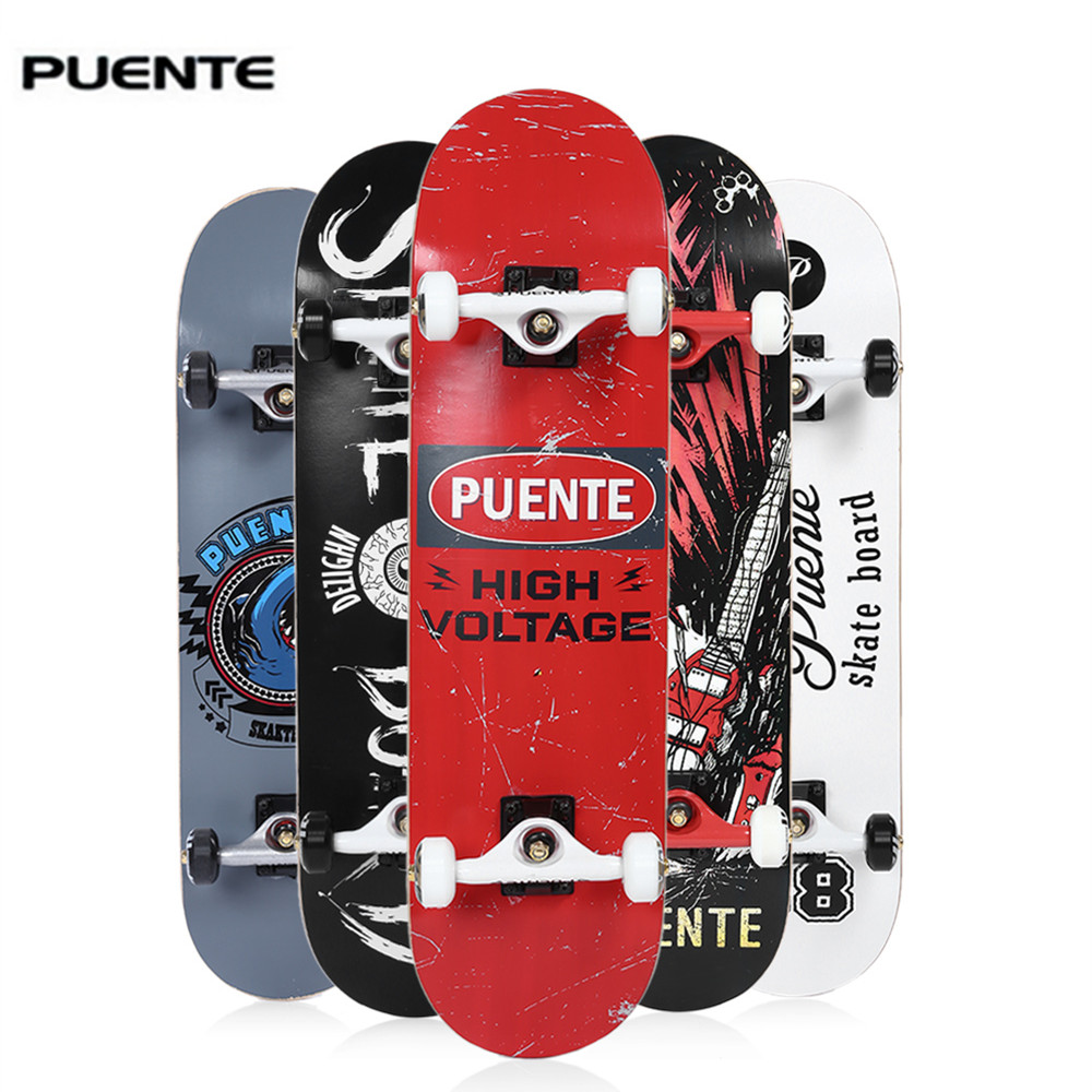 PUENTE 608 ABEC - 9 Adult Four-Wheel Double Snubby Maple Skateboard Skate Board Maple Long Board For Skateboarding Entertainment