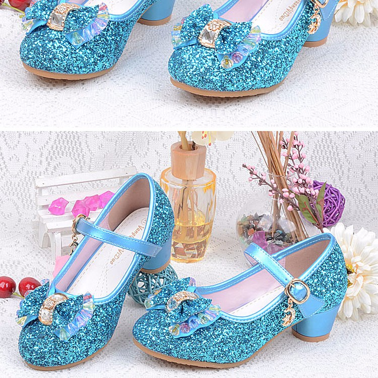 1_022016 spring Kids Girls High Heels For Party Sequined Cloth Blue pink Shoes Ankle Strap Snow Queen Children Girls Pumps Shoes