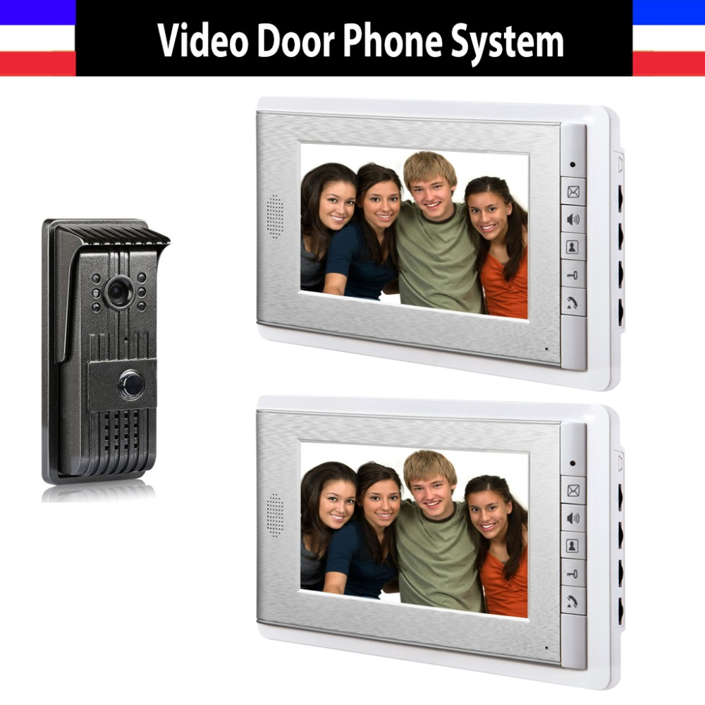 7 inch lcd Monitor video door phone doorbell wired System Video intercom interphone Kit Night Vision alloy Camera 2-Monitor  7 monitor video doorbell door phone intercom system ir night vision alloy door camera wired video interphone kits 2 monitor