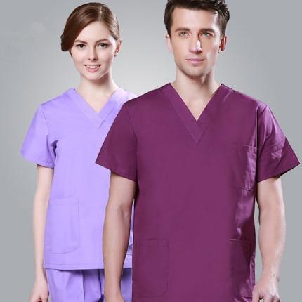 Eiropas stila modes medicīnas tērps Lab Coat Sieviešu slimnīcas skrubis Uniformas komplekti Dizains Slim Fit Elpojoši vīrieši Medicīnas uniforma