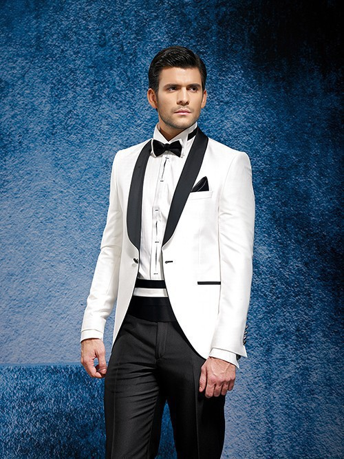 US $93 21 |White coat and black satin lapels wedding dress the groom, have  the best man suit suit (jacket + pants + bowknot, belt)-in Suits from Men's