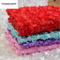 GGGGGO HOME,100% polyester fabric 3D rose flower wedding carpet fabric wedding stage background yarn mantle flower fabric DECOR