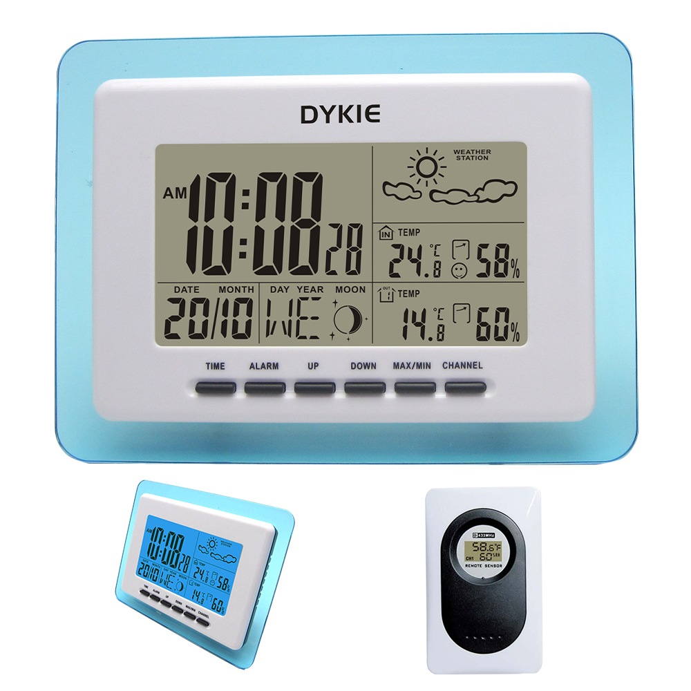 433MHz RCC Wireless Weather Station with Digital Clock DYKIE Indoor Outdoor Temperature Humidity Transparent Blue Frame