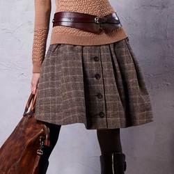 ARTKA falda de otoño para mujer 2018 invierno falda de lana Lolita Falda corta para niñas Vintage falda escocesa Mini Saia QA10058Q