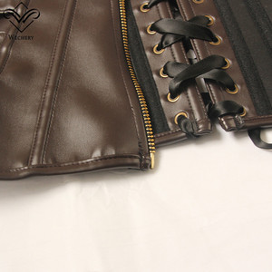 Image 5 - Wechery Brown Black Short Top Bustier Ladies Fashion Leather Underbust Corset Slim Wasit Shapewear Gothic Goth Style Punk Tops