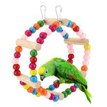 Птица Животное попугай многоцветные деревянные круглые кольца Феррис игрушки на колесах птицы забавные висящие восходящие качели лестницы игрушки