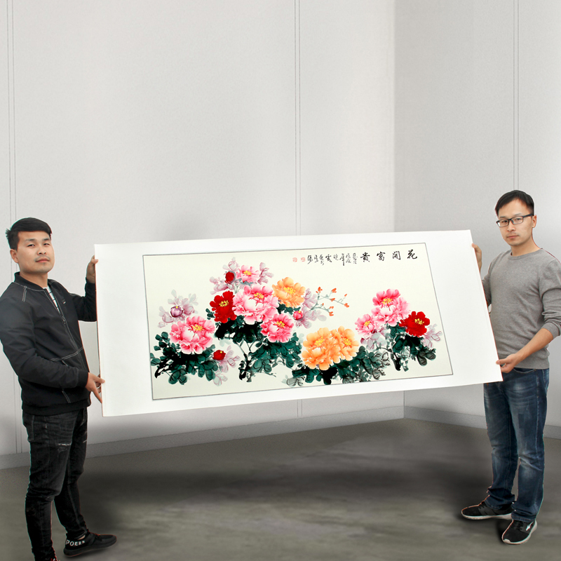175cm large Huge hall Lobby HOME company WALL Asia Decorative painting Rich Peony Flowers FENG SHUI chinese silk painting art