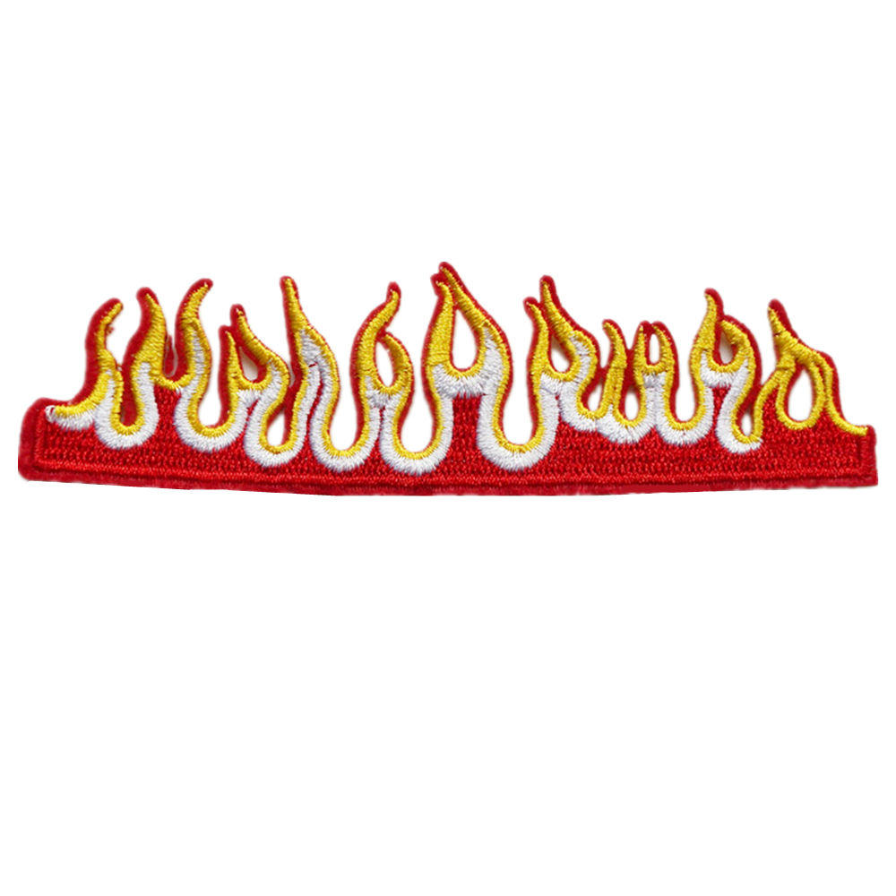 Fire Flame Embroidered Sew On Iron On Patch Badge Fabric Applique Craft Transfer