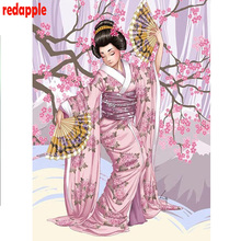 DIY photo custom,3d Diamond Painting Cross Stitch kits 5D Full square Mosaic Embroidery Japanese kimono woman Home Decor