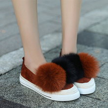 Woman Casuals Flat 2017 Winter Warm Rabbit Fur Loafers Shoes Slip On Ladies Round Toe Mixed Color Women's Flats