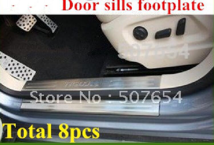 304 нержавеющая сталь 8 шт. автомобиля пороги потертости Защитная декоративная пластина, защита педали пластина для Volkswagen Tiguan 2010