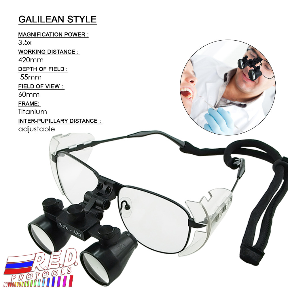 все цены на 3.5x Galilean Style Dental Loupes Surgical Medical Titanium Frame 420mm Working distance + 55mm Depth of Field Loupe Dentistry онлайн