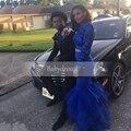 Duas Peças Longo Vestido de Baile Africano 2017 Alta Neck Lace Satin Manga longa Amostra Real Até O Chão Sereia Vestidos de Baile Azul Royal