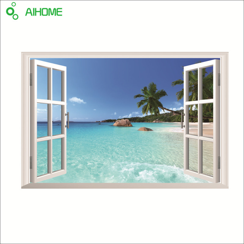 1pcs Beach Sea 3D Removable Window View Scenery Wall Stickers PVC Home Decoration Fake Window Waterproof Wall Stickers 90*60cm