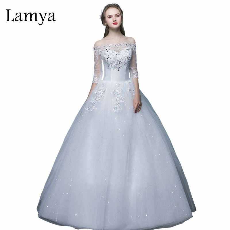 LAMYA Cheap Plus Size Sexy Wedding Dress With Lace Half Sleeve 2018 Boat  Neck Bride Gown b22917b6aad9