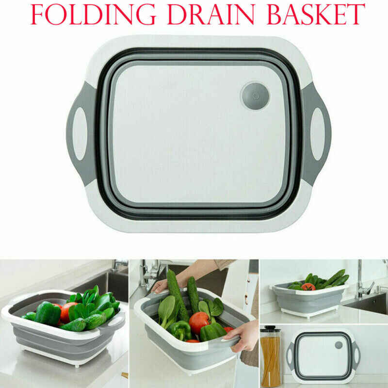 4 in 1 Multi-Board Dayvion No More Tools Drain Basket Foldable Fruit Vegetable Washing Basket Daily Necessities Kitchen Tools