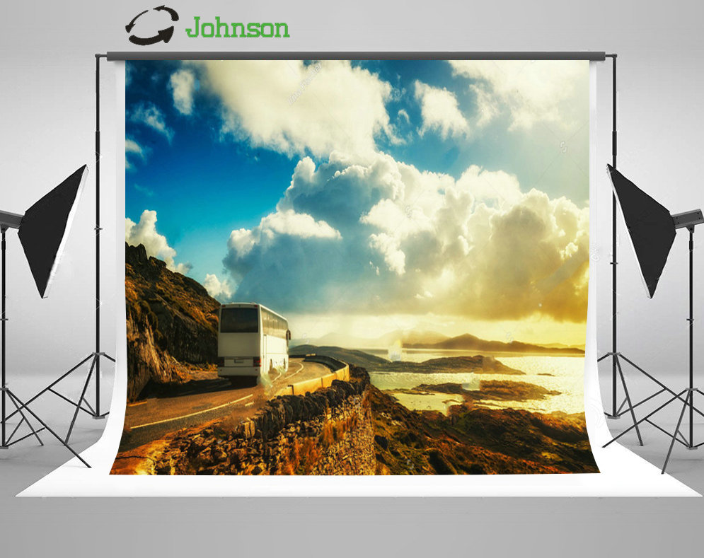 Blue Sky White Clouds White Bus Mountain Road background polyester or Vinyl cloth High quality Computer print wall backdrops