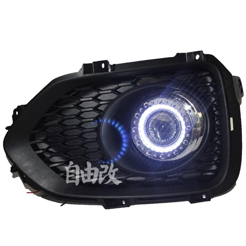 СИД DRL дневного света cob глаза ангела, объектив проектора противотуманная фара с крышкой для Киа Соренто 2009-12, 2 шт