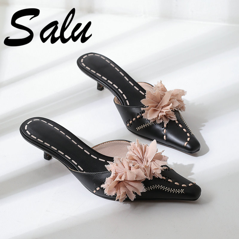 Salu 2019 Summer Rome Slippers Sandals Women Leisure Slippers Fashion Women s Slides Genuine Leather Shoes