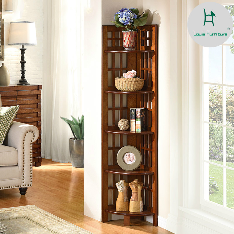 US $115.9 |Louis Fashion Plant Shelves Floor Multi storey Storage Rack  Living Room Wall Corner Solid Wood Bookshelf Flower Shelf Tripod-in Plant  ...