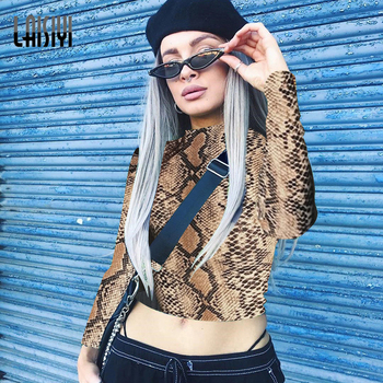 LAISIYI New 2019 Snake Skin Crop Top and Leggings Yoga Sets Women Gym Clothes Sports Wear Running Fitness Outfit Workout Clothes Top