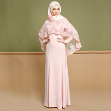 Plus Size Vestido 2019 UAE Abaya Muslim Kaftan Women Party Two Piece Set Lace Shawl & Hijab Dress Dubai Turkish Islamic Clothing(China)