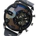 Luxo Moderno Tamanho Grande Relógios Homens Data Pulseira Assistir Esportes Militares Relógio de Pulso de Quartzo com Pulseira de Couro Grande Relógio Masculino