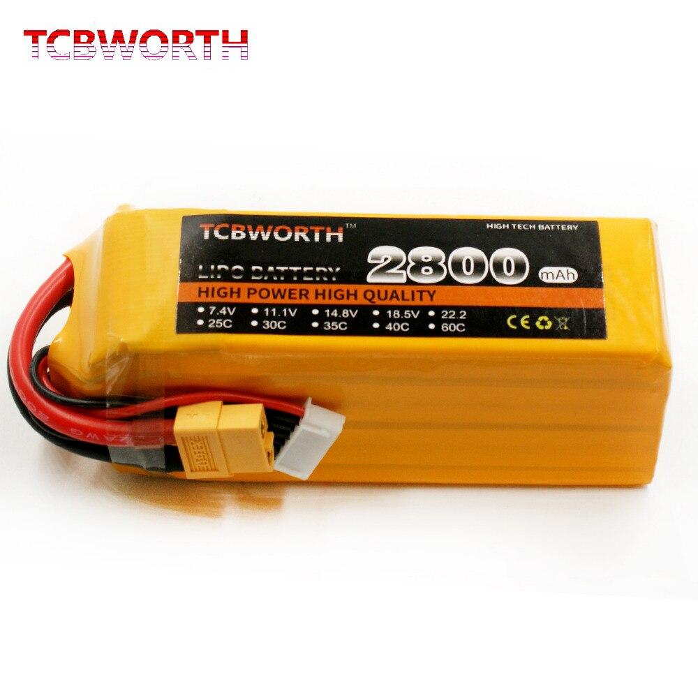 TCBWORTH batterie 6 s 22.2 v 2800 mah 60C Max 120C RC Hélicoptère Lipo Batterie Pour RC Avion Quadrirotor Drone 2800 mah RC batterie 6 s
