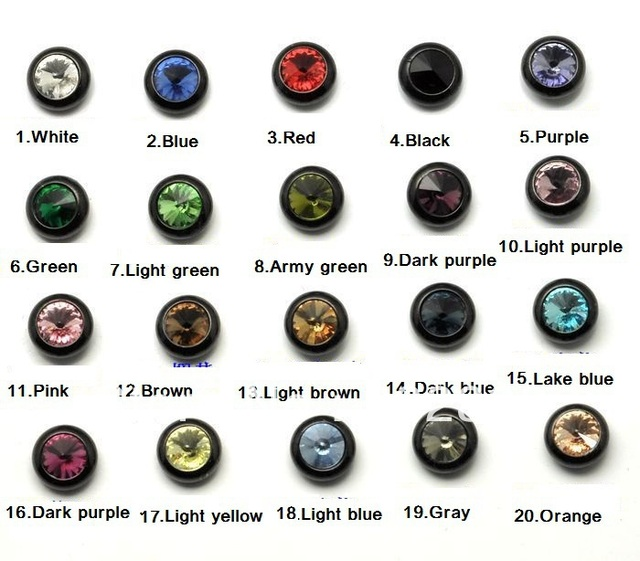 Free Shipping Male Fashion Stud Earrings Round Colors Stones Pattern Black Color