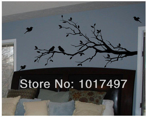 Free Shipping Large size 147cmx71cm Vinyl Tree Branch with 10 birds Wall Decal Removable Wall Sticker