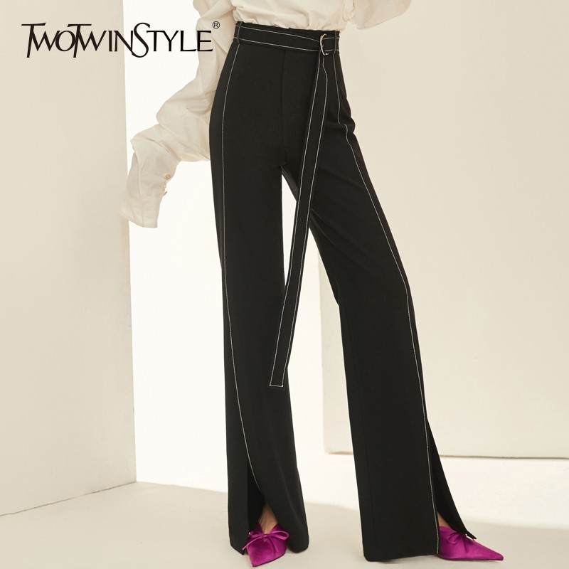 TWOTWINSTYLE Casual   Wide     Leg     Pants   Female High Waist Lace Up Split Long Trousers For Women Korean Fashion Spring Autumn 2018 New