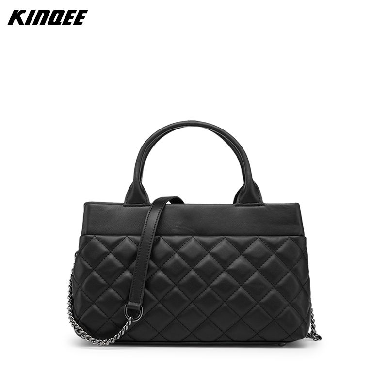 Genuine Leather Diamond Lattice Fashion Messenger Bag Cow Leather Luxury Designer Handbag Lady Shoulder bag women shoulder bag cossbody handbag genuine first layer of cow leather 2017 korean diamond lattice chain women messenger bag