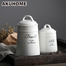 White Ceramic Storage Coffee Pot Text Pattern Tank Elegant and Thickening European Condiment Bottles AKUHOME
