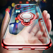 Luxury Magnetic Anti-knock Phone Case For iPhone XSMax XR X 8 7 6 6S Plus Cases Plating Transparent Car Finger Ring Holder Cover