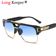 LongKeeper Top quality Men Sunglasses 2018 Big Square Semi
