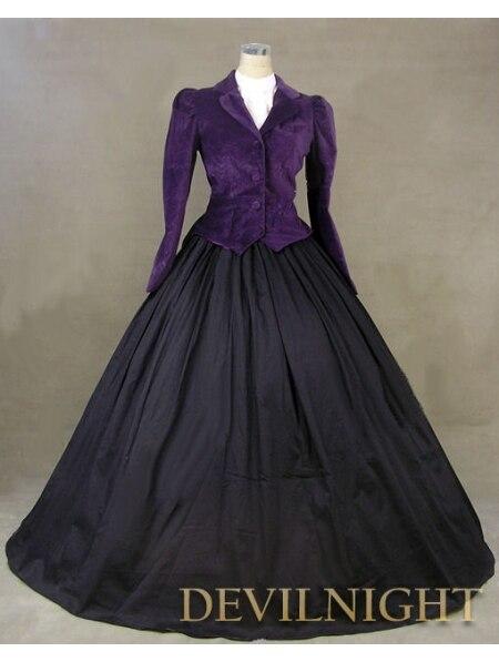 Purple font b Jacket b font Winter Gothic Victorian Costume Dress Victorian Dress Tutorial